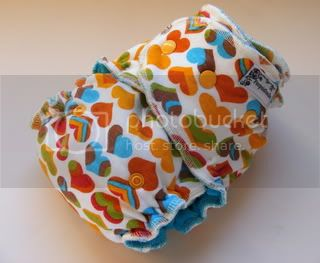 One Size Extreme Fitted Cloth Diaper SECOND Rainbow Hearts