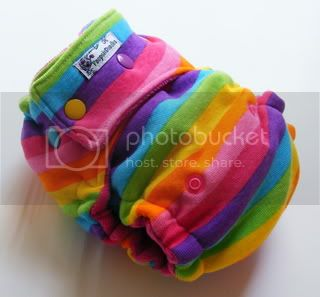 One Size  Fitted Cloth Diaper Rainbow Brights w/ rainbow snaps