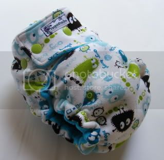 One Size  Fitted Cloth Diaper Aqua Ooga On White