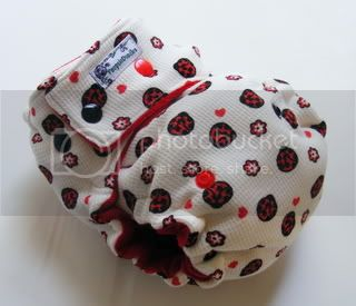 One Size  Fitted Cloth Diaper Ladybugs On White