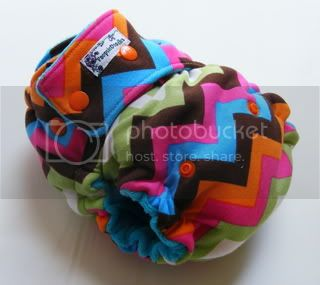 One Size  Fitted Cloth Diaper Rainbow Zigzag