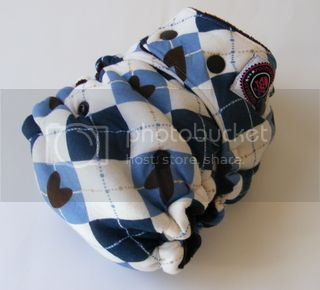 One Size  Fitted Hybrid Cloth Diaper XTREME Argyle Hearts