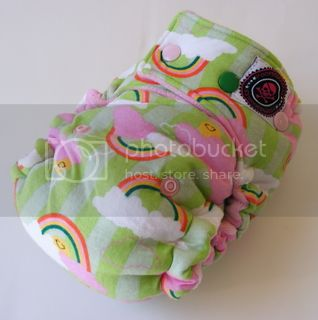 One Size  Fitted Hybrid Cloth Diaper XTREME Rainbows