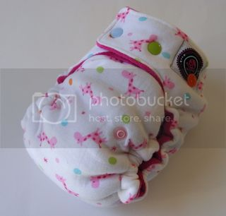 One Size  Fitted Hybrid Cloth Diaper XTREME Bubblegum Giraffe