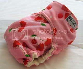 One Size Bamboo Fitted Cloth Diaper *Cherry Hearts