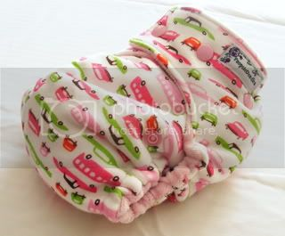 *CLEARANCE* One Size Bamboo Fitted Cloth Diaper *Pink Retro Cars
