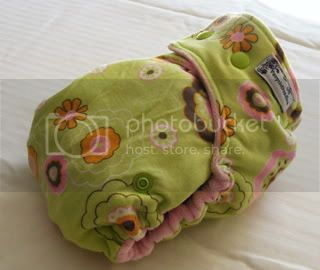 One Size Bamboo Fitted Cloth Diaper *Retro Flowers