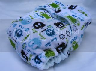 **CLEARANCE** One Size Bamboo Fitted Cloth Diaper *SNAPLESS Aqua Ooga Velour