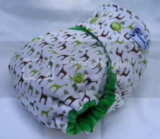 One Size Bamboo Fitted Cloth Diaper *SECOND Grass Giraffes