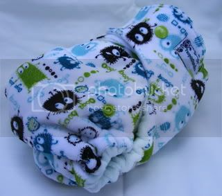 One Size Bamboo Fitted Cloth Diaper *Aqua Ooga Velour