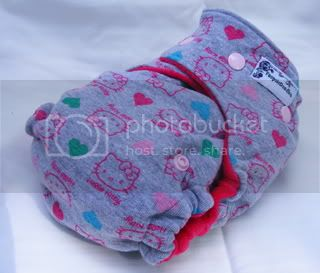 One Size Bamboo Fitted Cloth Diaper *Hello Kitty