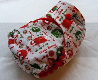 One Size Bamboo Fitted Cloth Diaper *Christmas Ooga