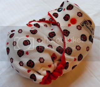 One Size Bamboo Fitted Cloth Diaper *Ladybugs
