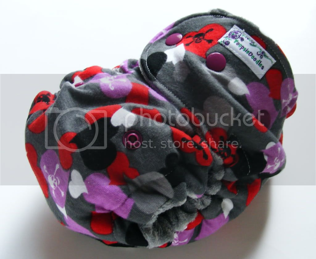 One Size  Fitted Cloth Diaper Skully Love