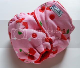 One Size  Fitted Cloth Diaper Cherry Hearts