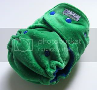 One Size  Fitted Cloth Diaper Green Cotton Velour