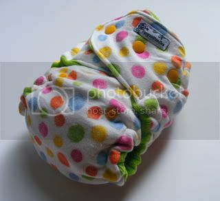 One Size  Fitted Cloth Diaper SECOND Rainbow Dot