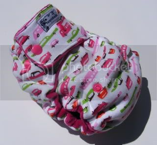 One Size  Fitted Cloth Diaper Retro Cars