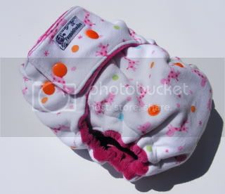One Size  Fitted Cloth Diaper BubbleGum Giraffes
