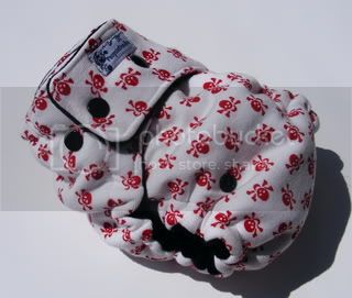 One Size  Fitted Cloth Diaper Red Skully