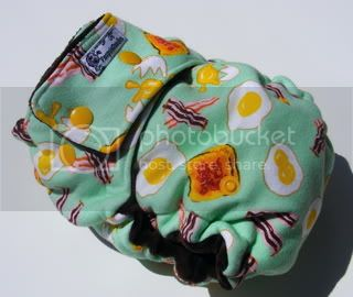 One Size  Fitted Cloth Diaper Bacon N Eggs