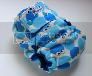 One Size  Fitted Cloth Diaper Blue Monster