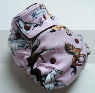 One Size  Fitted Cloth Diaper Ponies on Pink