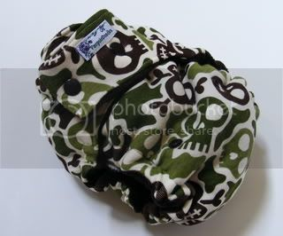 One Size  Fitted Cloth Diaper Camo Skulls