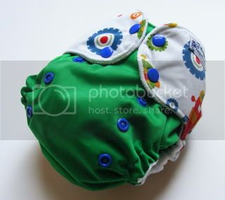 One Size AI2 Cloth Diaper Robots On Green