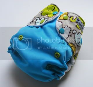 One Size AI2 Cloth Diaper Elephant walk on Teal