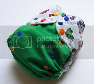 One Size AI2 Cloth Diaper Red Light Green Light on green