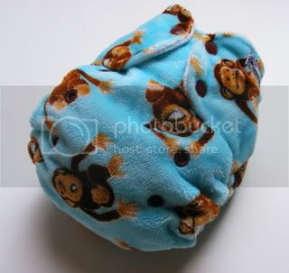 One Size AI2 Cloth Diaper Monkey Minky
