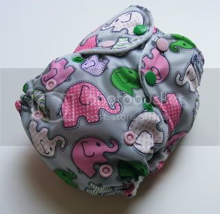 One Size AI2 Cloth Diaper Pink Elephant Walk